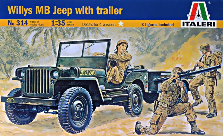 Italeri 314 Willys MB Jeep with trailer 1/35