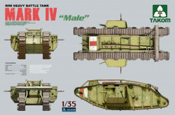"Takom 2008 Mark IV ""Male"" WWI Heavy Battle Tank 1/35"