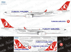 Ascensio 333-003 Декаль на самолет Airbus A330-300 Turkish Airlines 1/144